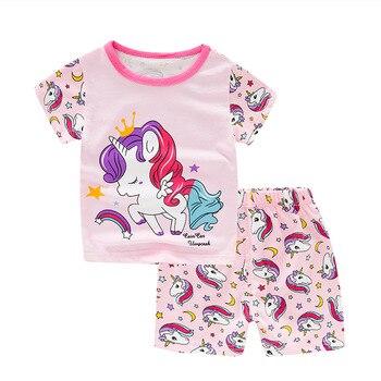 SAILEROAD Kids Unicorn Pajamas For Girls Summer Children's Pajamas Sets Child Short Sleeve Pyjamas Boys Cotton Pijamas Sleepwear