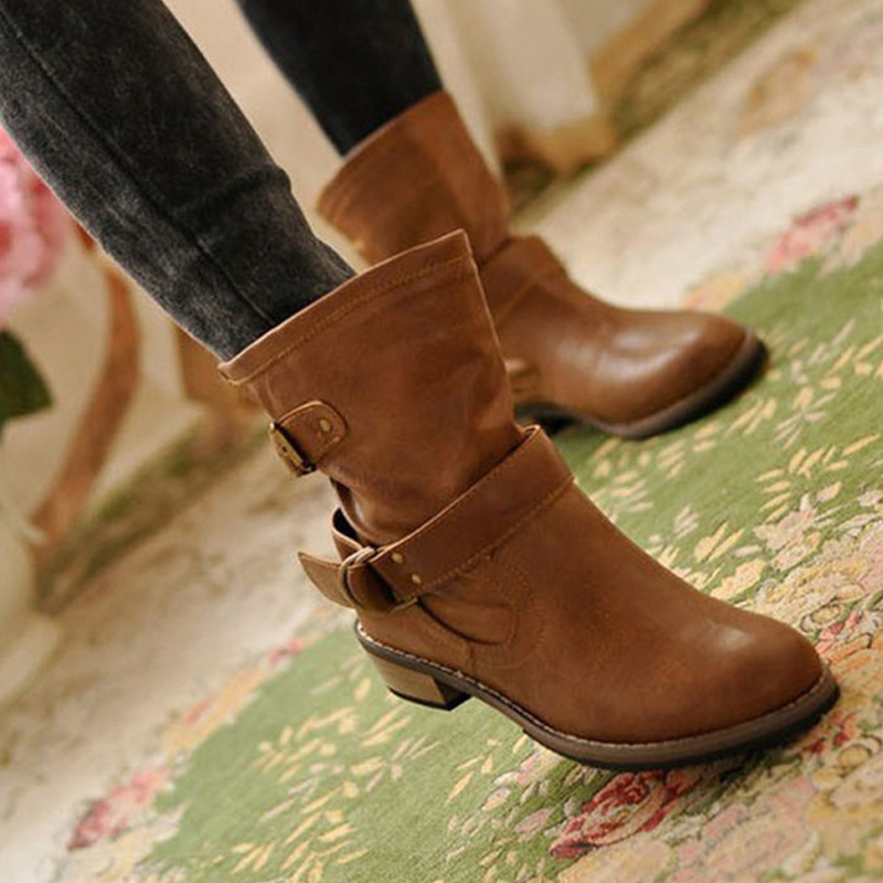 2019 Solid color comfortable motorcycle boots women boots buckle strap casual shoes woman zapatos de mujer Winter women boots