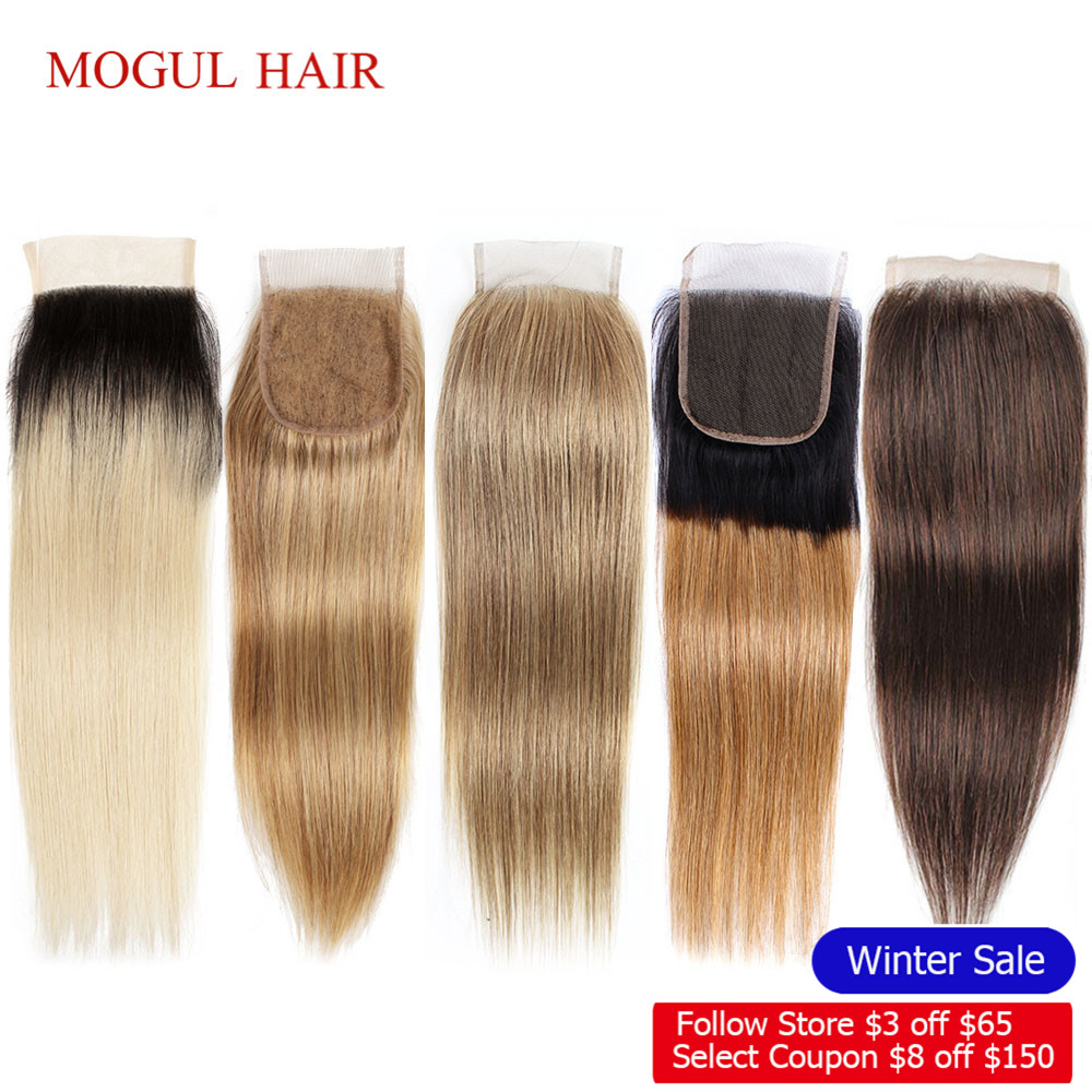 Closure HAIR Blonde Dark-Brown Natural-Black Honey Straight Ombre MOGUL Peruvian 2 Remy title=