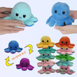 Cute Soft Simulation Reversible Octopus Doll Kids Emotional Epression Double-sided Flip Plush Toy Children Birthday Gift