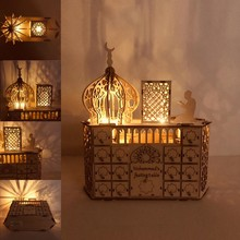 De madeira eid mubarak ramadan advento calendário led luz diy muçulmano islâmico 30 grades l5ye
