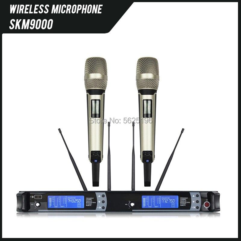 Top Quality SKM9000 2 Channels Receiver Dual Karaoke True Diversity Wireless Microphone SKM 9000 Mic For Live Stage Show