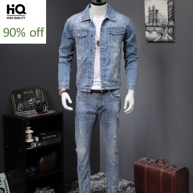 Spring Autumn New Light Blue Harajuku Denim 2 Piece Sets Men Vintage Wash Jackets And Jeans Fashion Slim Letter Two Piece Suits