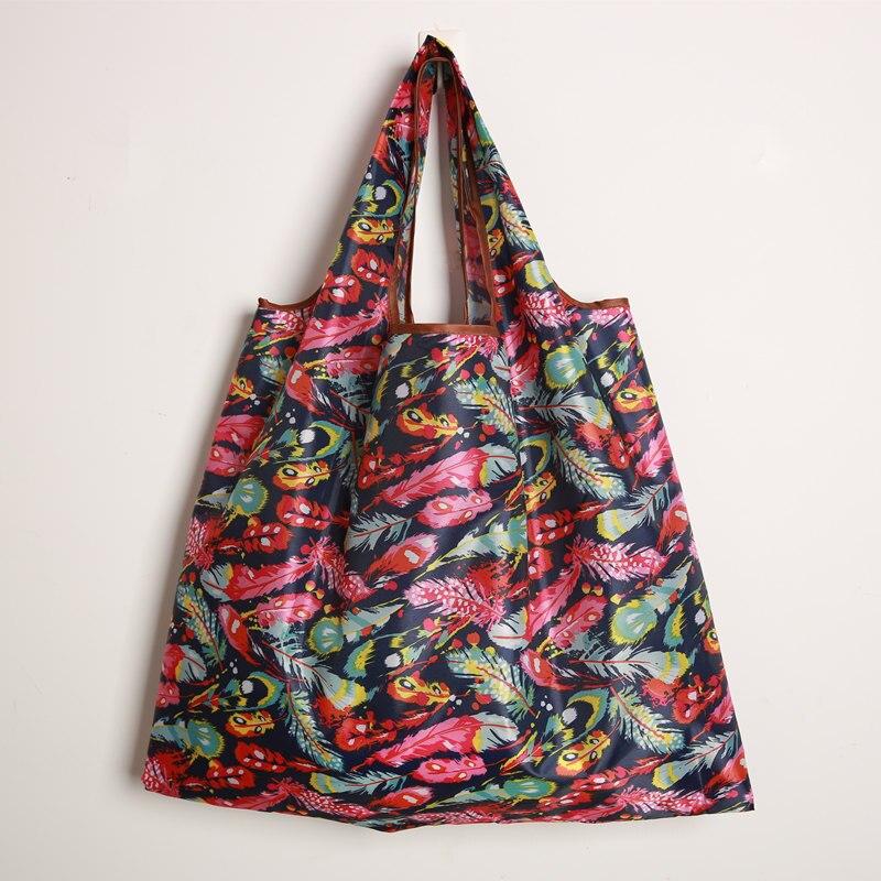 2019 New ECO Polyester Reusable Tote Foldable Shopping Bag Women Men Travel Shopper Package Buy Vegetables Traveling Sho