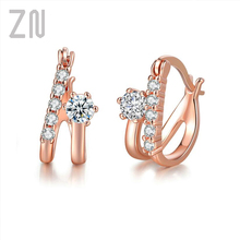 ZN Top Quality Rose Gold Color Crystal Stud Earrings For Women Wedding Jewerly Bridal Engagement Earrings Austrian Crystal цена 2017