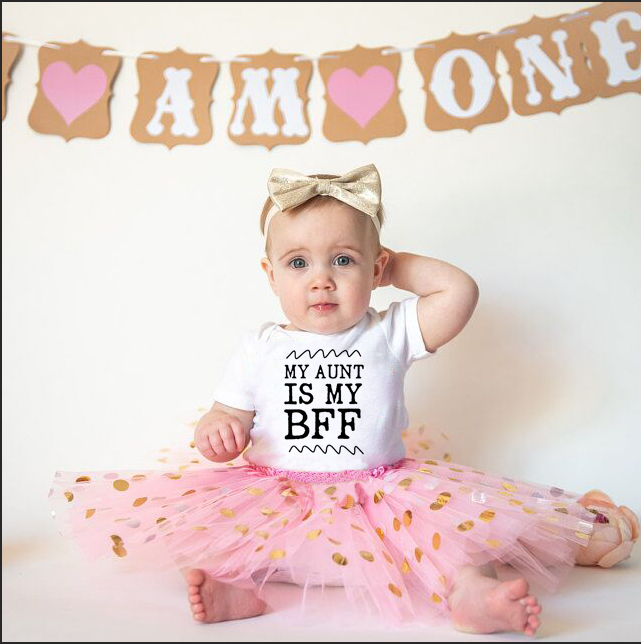 My Aunt Is My Best Friend Forever Infant Newborn Baby Girls Cotton Romper Tutu Skirt Clothing Set Toddler Girl Short Sleeve 2pcs image