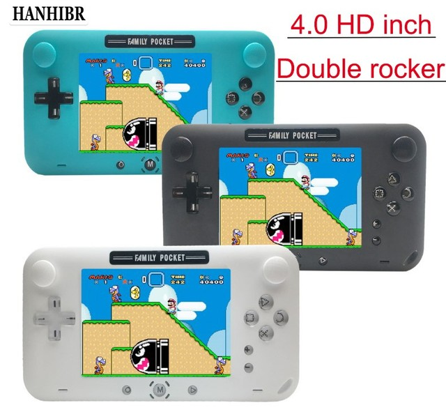 רטרו fc מובנה 208 משחק 1000mAh סוללה רטרו וידאו כף יד קונסולת משחקי 4.0 אינץ HD LCD 360 ° כפול שליטת ג ויסטיק משחק c