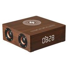 Беспроводное зарядное устройство Деревянный Будильник bluetooth