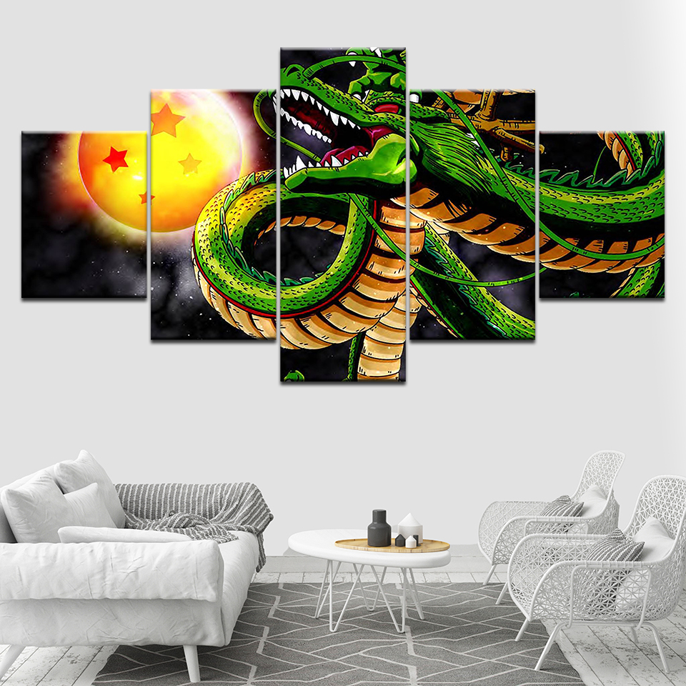 Dragon Ball Z Shenron 5 Panels Canvas Wall Art Wallpapers Modern