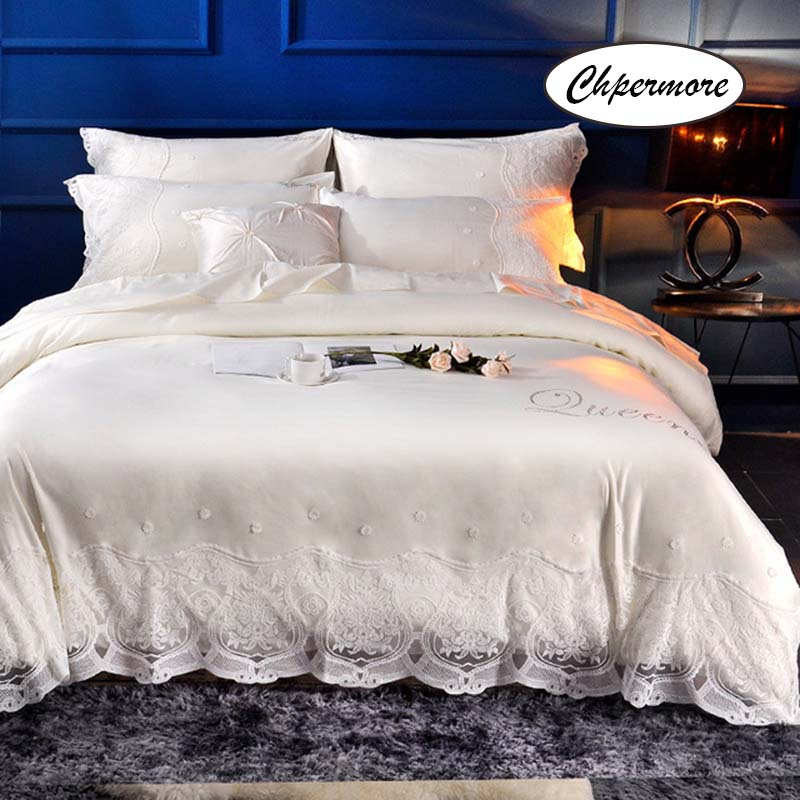 Chpermore European Washed 100% Silk Bedding Set Cotton Duvet Cover Sets Bed Sheets Pillowcases 3/4 PCS Twin Queen King Size