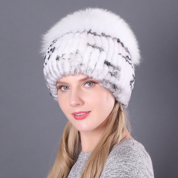 Winter Fur Hat for Women Real Rex Rabbit Fur Hats With Fox Fur Flower Knitted Beanies Caps New High-end Women Fur Cap image