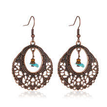 Bohemian Exaggerated Round Pendant Earrings Rainbow Sun Flower Crystal Vacation Women Ocean Wind Jewelry