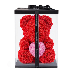 40cm Foam Rose Bear With Box  Rose Artificial Flower Gift for Girlfriends Mother Wife Valentine's Day Gift Home Decor