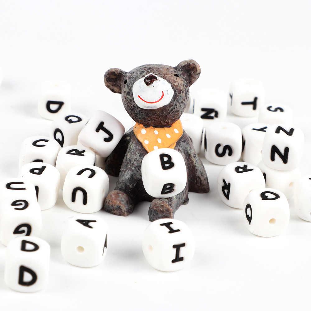 TYRY.HU 100Pcตัวอักษรภาษาอังกฤษซิลิโคนลูกปัด12Mm Baby Teetherอุปกรณ์เสริมสำหรับส่วนบุคคลPacifierคลิปTeethingของเล่น