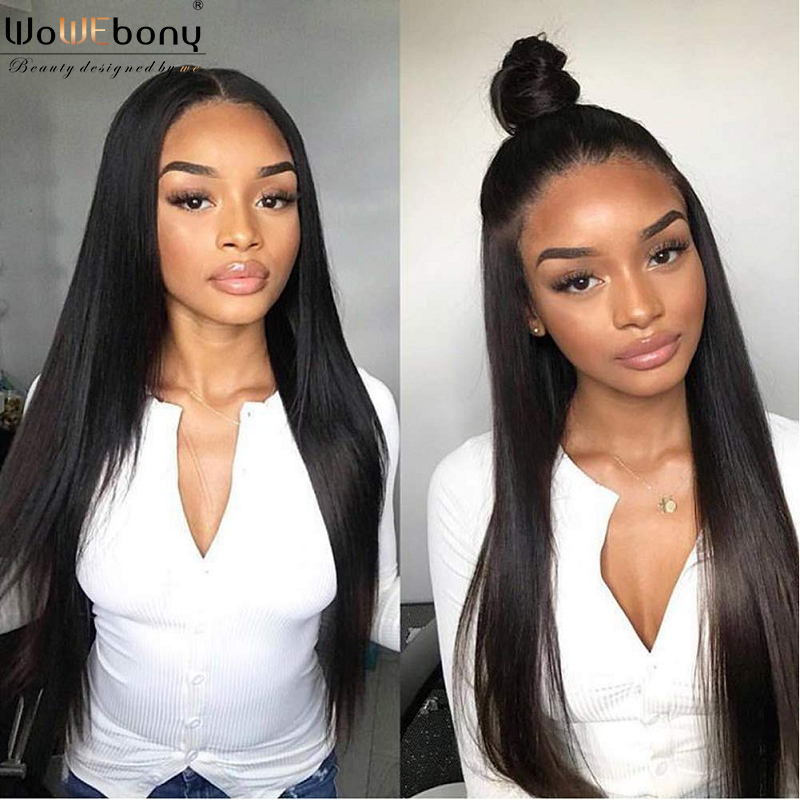 Lace Front Human Hair Wigs Brazilian 150 Density 4*1 Lace Part Wig Pre Plucked Remy Lace Topline Wig Glueless For Women WoWEbony