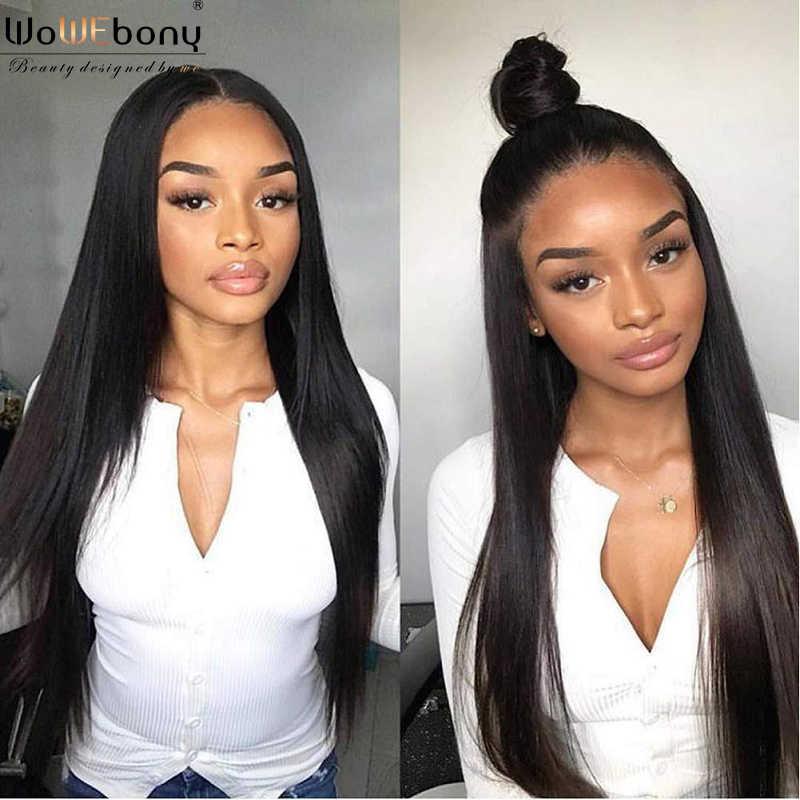 Pelucas de pelo humano frontal de encaje brasileño 150 densidad 4*1 Peluca de parte de encaje Pre desplumado peluca superior de encaje Remy sin pegamento para mujer WoWEbony