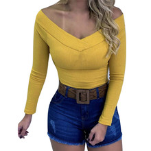 Sexy V-Neck Slim Bodysuit Women Long Sleeve Skinny Club Wear Rompers T-Shirt Tops Body Mujer Ladies Overalls Bodysuits Outfits adogirl one shoulder pant basic night club silk bodysuit women sexy autumn bodysuits 2019 fashion long sleeve skinny outfits