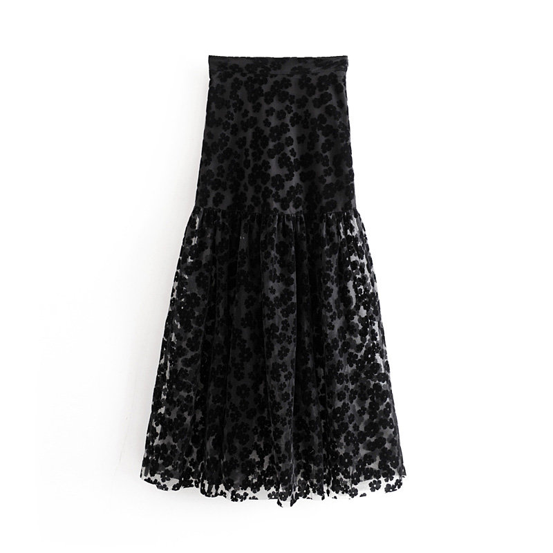 2019 Women High Street Floral Embroidery Mesh Vestidos Black Long Skirt Faldas Mujer Ladies Side Zipper Chic Skirts QUN511