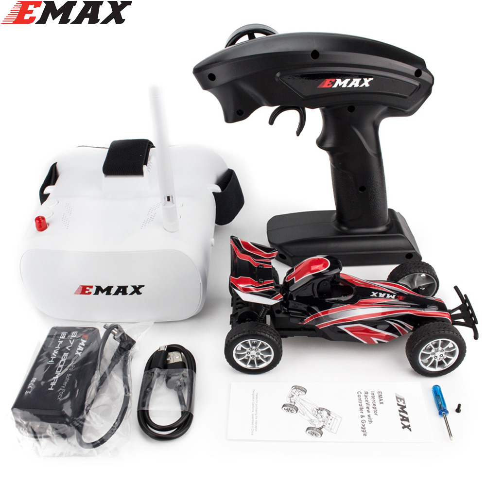 Emax Interceptor FPV Racing Car 2.4G Radio Control High speed With Camera Goggle Glasses RC Car 2~3S RTG Version for Gift