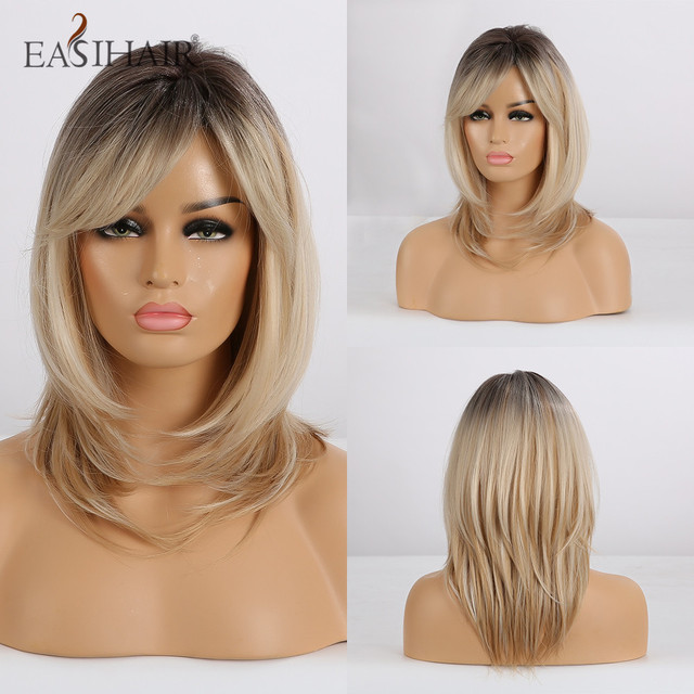 EASIHAIR Blonde Ombre Synthetic Wigs for Women Short Wigs with Bangs Layered Natural Hair Wavy Cosplay Wigs Heat Resistant