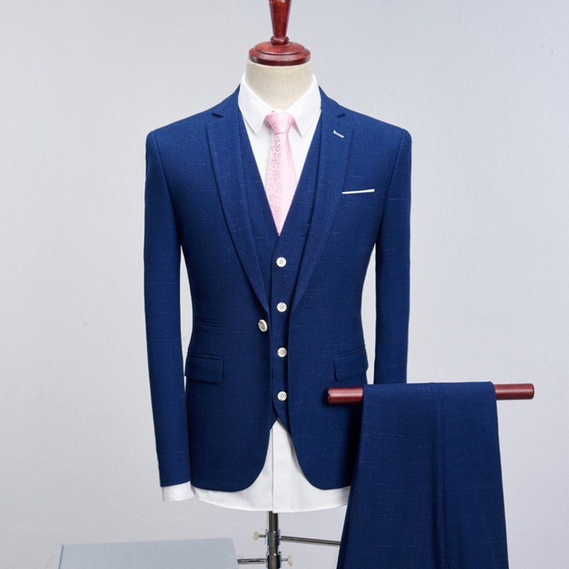 2020 Brand Groom Wedding Suits Men Slim Fit Black Blue Plaid Suits Mens Fashion Male Business Dress Formal Luxury Suit Tuxedo