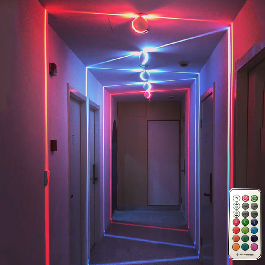 Thrisdar 10W Dimmable RGB LED Wall Light With Remote Line Window Door Frame Lamp Bedroom KTV Hotel Corridor Porch Wall Lamps|Wall Lamps| |  - title=