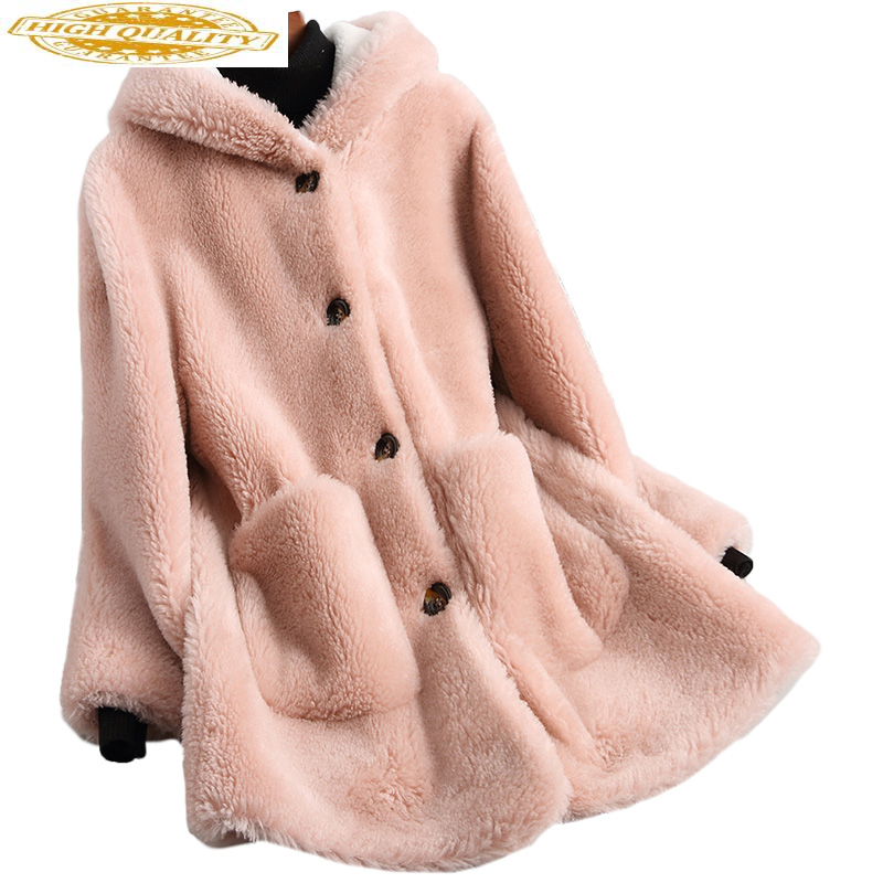 100% Real Wool Fur Coat Female Sheep Shearing Coats Hooded 2020 Long Warm Winter Jacket Women Outerwear 18135 WYQ2026