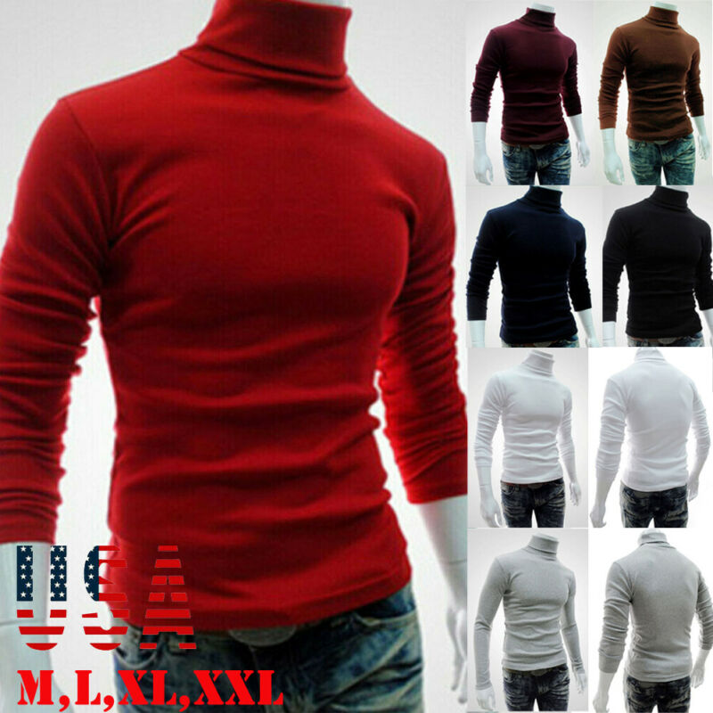 2020 HOT Selling Fashion Hirigin Streetwear Men's Winter Warm Cotton High Neck Pullover Jumper Sweater Tops Mens Turtleneck