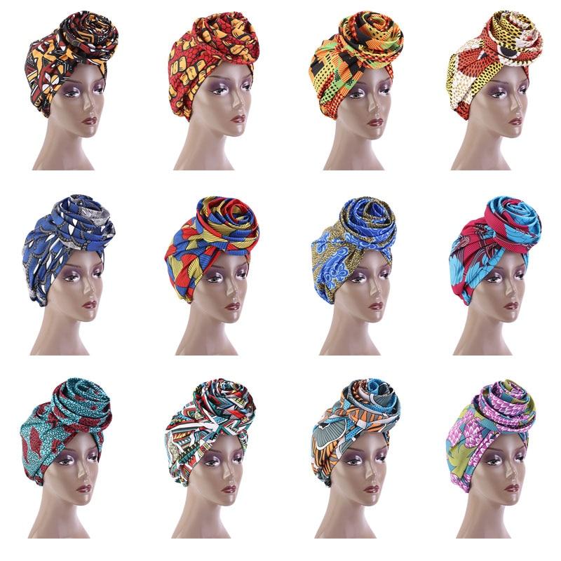 Headscarf Turban Satin Bandanas Flower Muslim African-Pattern Ankara Wholesale Print
