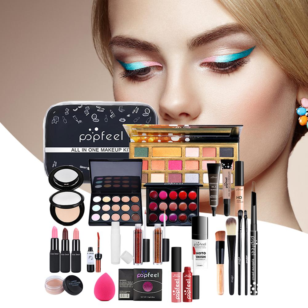 30PCS/Set Make Up Sets Cosmetics Kit Eyeshadow Lipstick Eyebrow Pencil Lip Gloss Makeup Brush Powder Puff With Makeup Bag