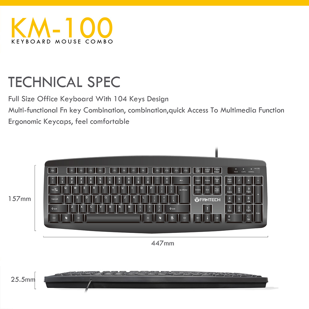 Fantech KM100 USB Keyboard Mouse Combo Black 9