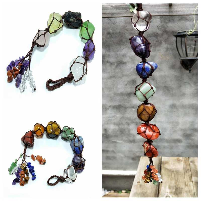 LBZE Chakra Stones Set,7 Chakra Gemstones Healing Crystals,Tassel Hanging Ornament for Good Luck,Yoga Meditation,Reiki Tumbled Gemstone Window Ornament