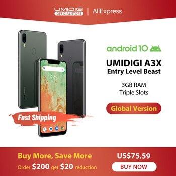 Перейти на Алиэкспресс и купить UMIDIGI A3X Android 10 глобальная версия 3 ГБ ОЗУ 5,7 дюйма смартфон Двойная Задняя камера 13MP селфи MT6761 двойной 4G тройной слот 3300 мАч