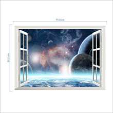 Outer Space Planet Wall Stickers Home Decor 3D Vivid Window Scenery Living Room Bedroom Decorations PVC Mural Posters