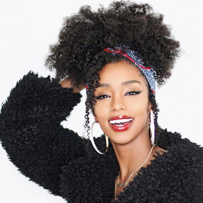 Afro Kinky Curly Ponytail Remy Hair Pieces For Women Natural Black Clip In Ponytails Drawstring 100% Human Hair Dolago Products image