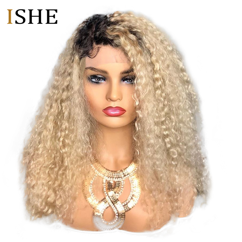Honey Blonde Omber 1b 613 Color Curly Wig 13x6 HD Transparent Lace Front Human Hair Wig Preplucked With Baby Hair Remy For Women image