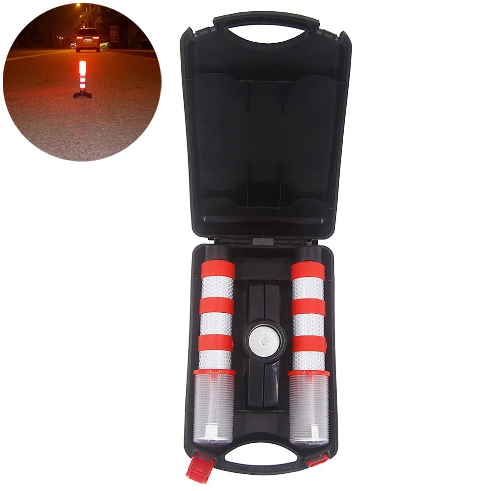 2Pcs Led Emergency Roadside Flashing Flares Safety Strobe Light Road Warning Light Beacon Magnetic Base Detachable Stand O28