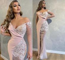 Dubai Arabic Prom Dresses Off The Shoulder Illusion Long Sleeves Appliques Lace Mermaid Evening Dress One robe de soire