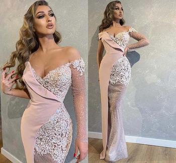 цена на Dubai Arabic Prom Dresses Off The Shoulder Illusion Long Sleeves Appliques Lace Mermaid Evening Dress One Shoulder robe de soire