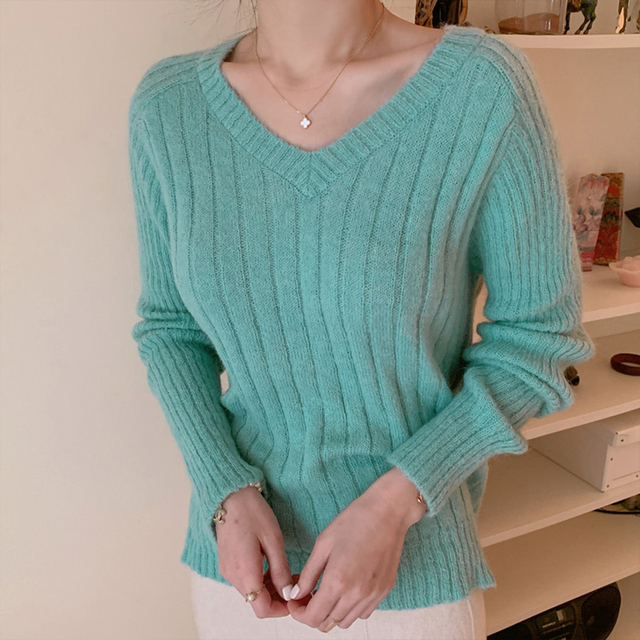 Ailegogo Casual Women Pullovers Spring Autumn Knitted Female Slim Fit Solid Color Sweater Knitted Ladies Knitwear Tops 1