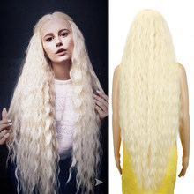 Edle Cosplay Synthetische Spitze Front Perücke Lange Perücke Cosplay Lockige 42 Zoll Ombre Blonde farbe Perücke Synthetische Spitze Front Perücke für Frauen(China)