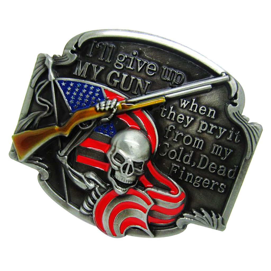 Skeleton Skull Flag Metal Belt Buckle Cowboy Give Up American Western Cowboy