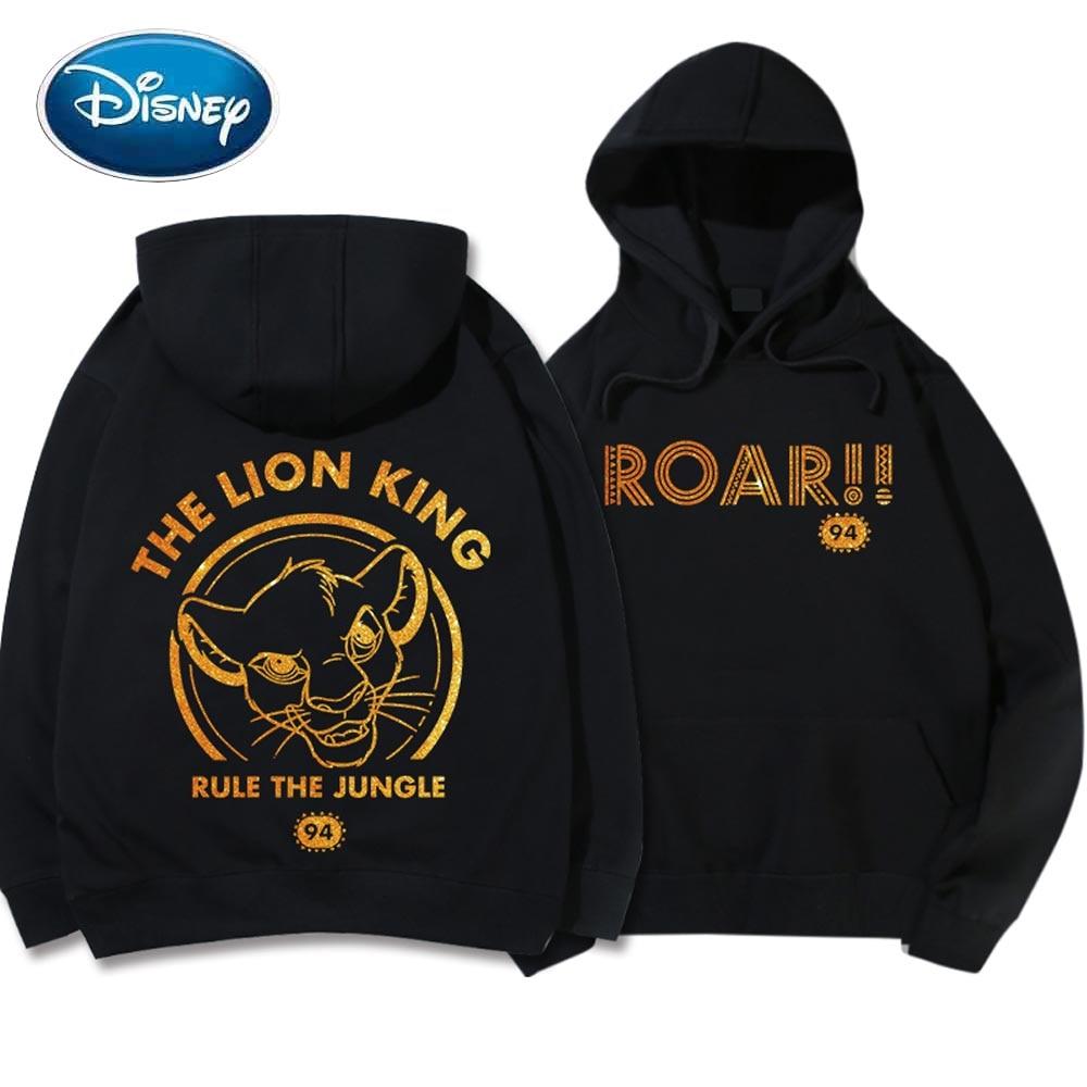 Disney Sweatshirt SIMBA The Lion King Of The Jungle Letter Cartoon Hoodie Couples Unisex Women Long Sleeve Pocket Tops 6 Colors