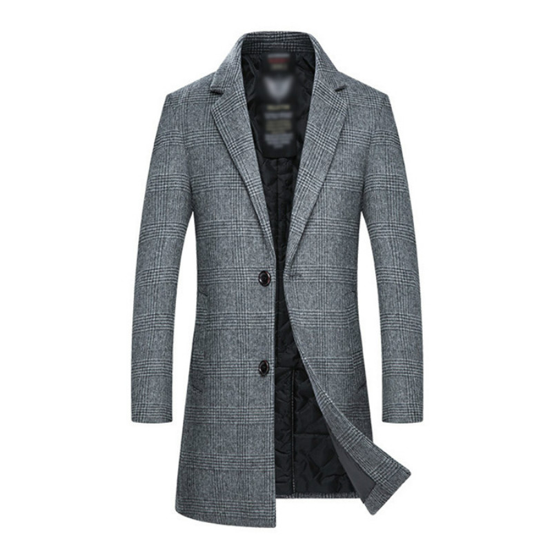 Men's Wool Coat Men 2019 Winter New Style Fashion Casual Slim Fit Thicken Warm Long Jacket Male Brand Plaid Abrigos Para Hombre