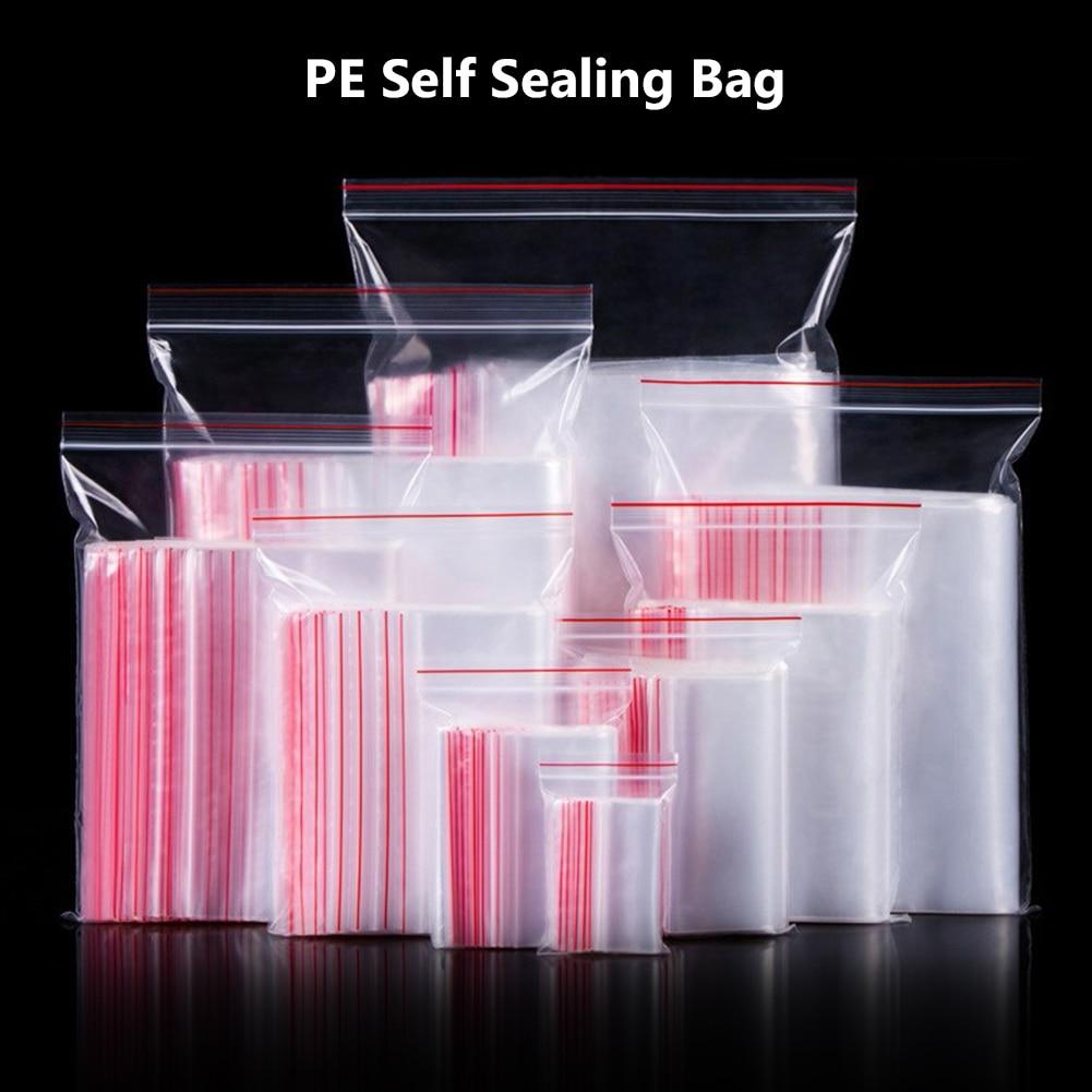 100 Pcs/Lot clair Stand Up poche en plastique fermeture éclair sac fermeture éclair noix transparentes fruits collation alimentaire haricots emballage au détail Poly sac