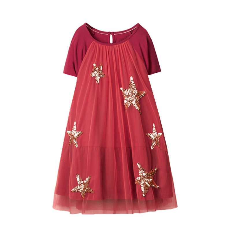 VIDMID baby girls dresses for girl short sleeve clothes kids cotton girls turnover Sequins clothing for 2-7 years girls W01 2