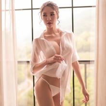 Сексуальная женская шифоновая пижама из тонкой ткани с длинным рукавом, белая перспектива, нижнее белье, сексуальное женское белье, пижамные комплекты