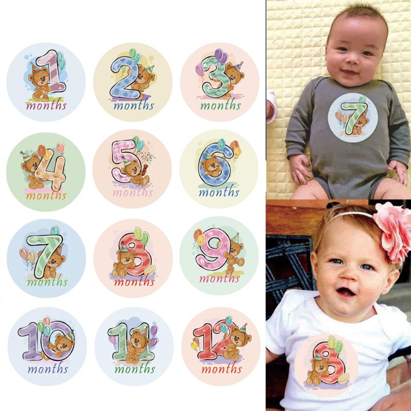Купить с кэшбэком 12 Pcs Month Sticker Baby Photography Milestone Memorial Monthly Newborn Kids Commemorative Card Number Photo Props Accessories