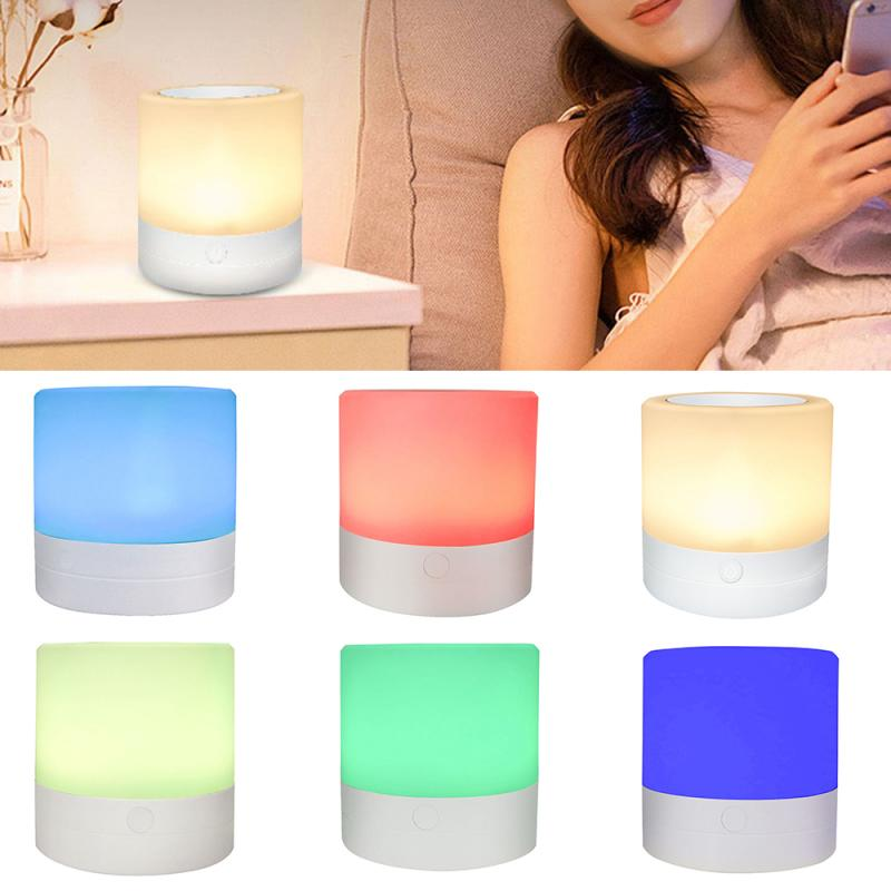Rechargeable Smart LED Touch Control Night Light Induction Dimmer Intelligent Bedside Portable Lamp Dimmable RGB Color Change