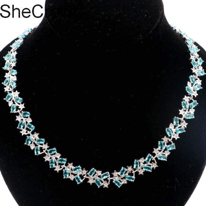 Beautiful Rich Blue Aquamarine White CZ Gift For Girls Silver Necklace 19 0 19 5in 16x10mm